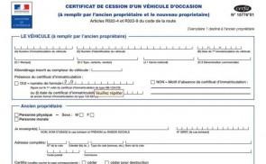 Déclaration de cession d'un véhicule
